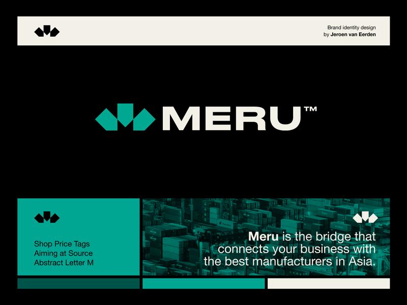 Meru - Logo Design 🚢 arrow bold shop digital market market asia negative space logo monogram m price tag tag logo design logo container shipping shipment ship meru