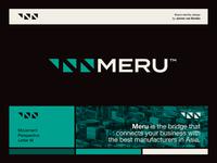 MERU - Logo Design ↗️ icon symbol neg space negative space logo navigation arrows containers branding brand identity visual identity logo meru