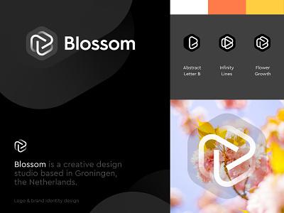 Blossom - Brand Design jeroen van eerden groningen minimal logo simplicity monogram orange netherlands dutch studio flower b monogram logo brand studio logo design design blossom