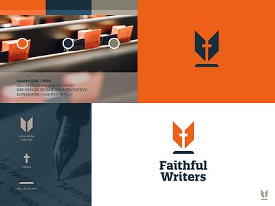 Faithful Writers - Logo Design 🖋️ identity logo branding brand orange inspire believers group followers church bible ink pen jesus believe writer writing write god faith