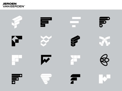 F Logos - Jeroen van Eerden visual identity identity design creative logos lines icons flow monogram branding logofolio portfolio identity symbols logo