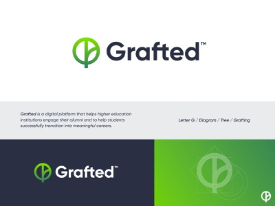 Grafted - Logo Design  v2🌱 alumni education student platform trunk tree diagram visual identity identity icon branding plant grow leaf nature symbol logo graft grafting grafted