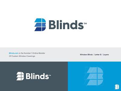 Blinds - Logo Design v2 brand identity design blinds.com redesign creative logo design smart logo b monogram covering window retail blinds abstract grid logo design mark monogram identity branding logo