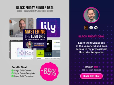 Black Friday Deal - For Designers style guide course offer discount premium templates logo template logo grid designer deal black friday bf65