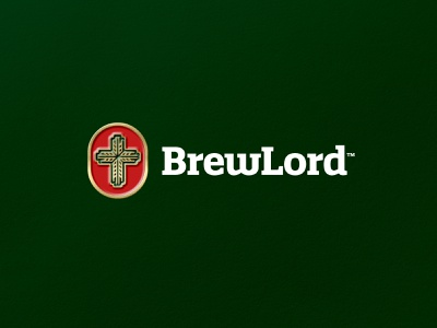 BrewLord - Logo Design 🍺 mockup gold visual identity brand identity design branding brewery logo brewery craft drink holy emblem badge hop wheat beer lord brew