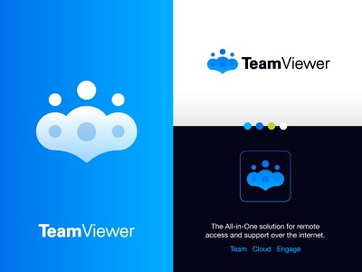 TeamViewer - Logo Redesign ☁️ visual identity design brand identity design logo design engagement chat people teamwork internet remote logo redesign team viewer smart logo cloud location pin finder management manage screen view team