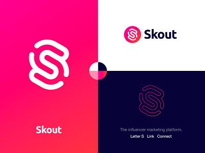 Skout - Logo Design 🔗 fingerprint identity design connected connect symbol logo mark lettermark monogram s mark creative logo gradient logo design branding logo chain social influencer marketing scouts skout scout
