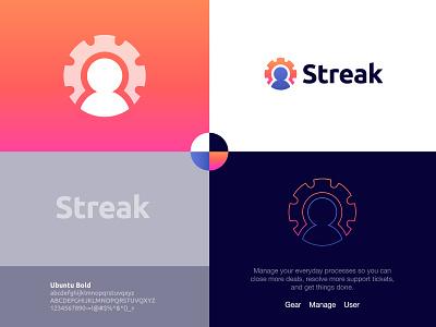 Streak - Logo Concept ⚙️ settings setting wheel symbol visual identity design brand identity design logo design logo process manager managment ui user human gear gmail manage streak