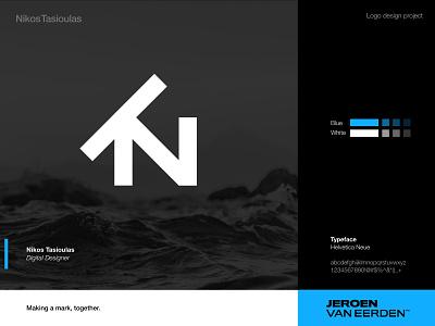 NT Logo Monogram nt logo creative design logo presentation creative logo brand identity design visual identity brand symbol brand blue sea greek greece nikos monogram logo nt