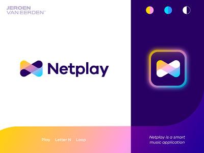 Netplay - Logo Design ▶️ engagement n logo monogram symbol visual identity design brand identity creative logo logo gradient gradient logo design application app music player logo loop play net