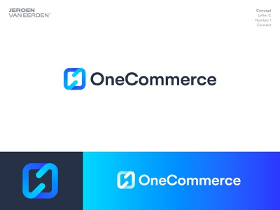 OneCommerce - Logo Design it tech blue symbol logo branding platform app ecommerce commerce creative logo modern logo gradient monogram c number 1 one