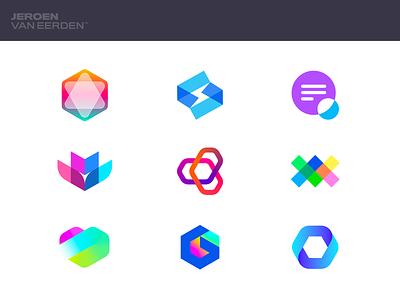 Logofolio - Bright 🌈 smart design interact owl star hexagon logo fresh logo symbol logo mark visual identity design branding gradient startup creative logos logos logo logofolio