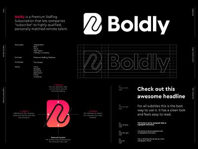 Boldly - Logo Design - Micro Style guide subscription contract shake hands human lettermark monogram b monogram symbol logo design branding staffing hurme o p q r s t u v w q y z a b c d e f g h i j k l m n jeroenvaneerden micro styleguide boldly bold