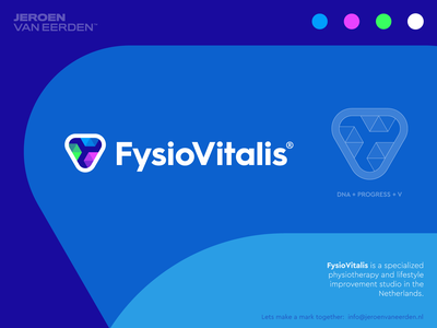 FysioVitalis - Logo Design v3 physiotherapy improvement lifestyle weight triangle visual identity design brand identity design logo design progress clinic body human molecule dna health fit sport vitalis fysio