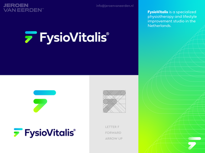 Fysio Vitalis - Logo Design v4 branding o p q r s t u v w x y z a b c d e f g h i j k l m n service therapy physical therapy physician physiotherapy help direction arrow forward positive lifestyle health mindset sport fit vital logo design