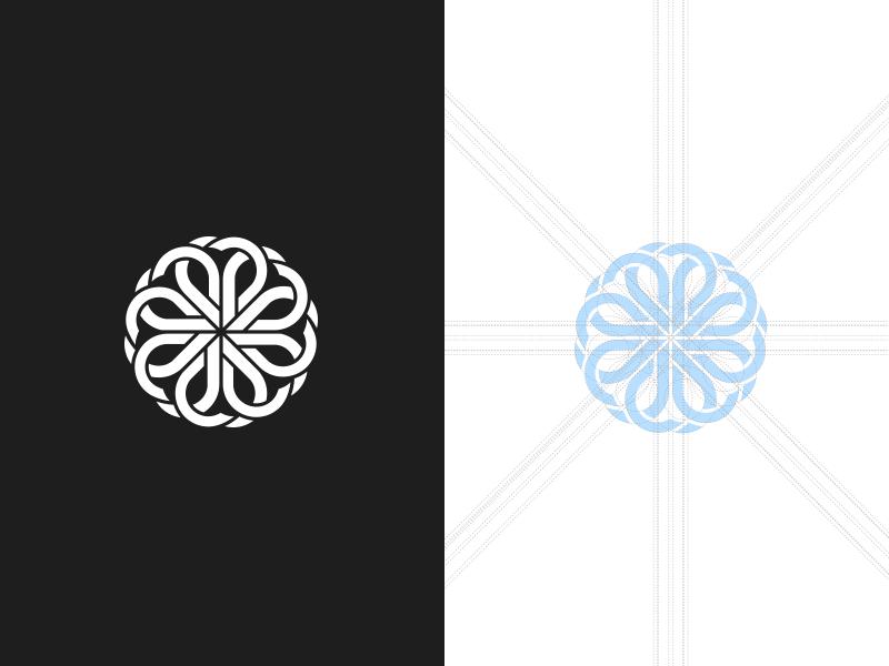Emblem mark construction.  emblem mark construction grid icon monogram branding badge