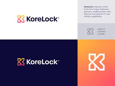 KoreLock - Logo Design 🚪 smart lock connect logo design branding lettermark monogram letter monogram o p q r s t u v w x y z a b c d e f g h i j k l m n t h e q u i c k b r o w n f o x creative logo gradient logo arrow core kore remote lock door
