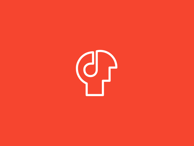 Headset. head music note icon line art human brain technology notes