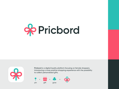 Pricbord - Logo Design 📍 branding gifts gift loyalty o p q r s t u v w x y z a b c d e f g h i j k l m n logo platform grow woman feminine female location pin ribbon experience shopping shop board pricbord