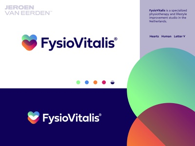 FysioVitalis - Logo Design v5 t h e q u i c k b r o w n f o x o p q r s t u v w x y z a b c d e f g h i j k l m n lifestyle sport fit vitalis connect heart human branding logo design logo physical therapy physiotherapy fysio