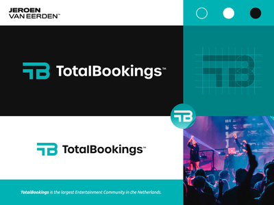 TotalBookings - Logo Design t h e q u i c k b r o w n f o x o p q r s t u v w x y z a b c d e f g h i j k l m n visual identity design branding logo online entertainment artists artist armin van buuren dj music entertainment netherlands dutch bookings booking book total