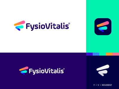 FysioVitalis - Logo Design v7 monogram netherlands lifestyle sport modern logo design t h e q u i c k b r o w n f o x o p q r s t u v w x y z a b c d e f g h i j k l m n vivid colors brand logo physical therapy physiotherapy physics vital