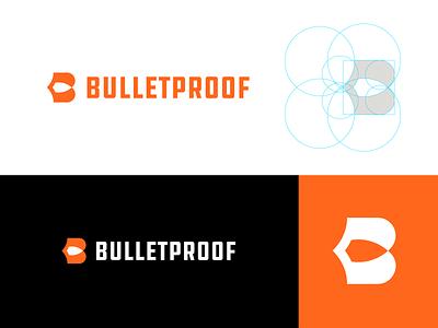 Bulletproof - Logo Design 🛡️ logodesign logo grid negative space logo safety orange t h e q u i c k b r o w n f o x o p q r s t u v w x y z a b c d e f g h i j k l m n logo monogram letter mark logo b shield bullet proof bullet