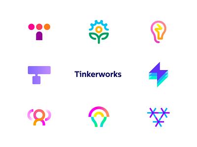 Tinkerworks - Logo Concepts t h e q u i c k b r o w n f o x o p q r s t u v w x y z a b c d e f g h i j k l m n symbol monogram wordmark innovate interact teamwork communication letter t creative spark bulb light logo tinker