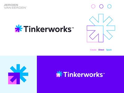 Tinkerworks - Logo Design *️⃣ storytelling story movement arrow aim creative energy spark asterisk star visual identity design brand identity branding logo design works tinker logo