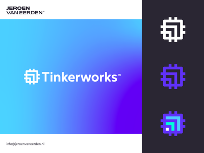 Tinkerworks - Logo Concept v3 micro forward symbol arrow scale connect computing computer hardware stoftware technology chip tech visual identity design branding identity logo design logo