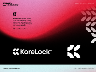 KoreLock - Logo Design branding monogram lettermark k inside secure data wireless beam arrow smart digital key lock korelock core logo design