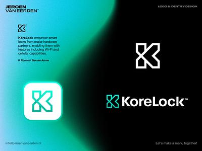 KoreLock - Logo Design monogram lettermark connect mark icon gradient symbol visual identity design branding brand wireless smart lock lock korelock core logo
