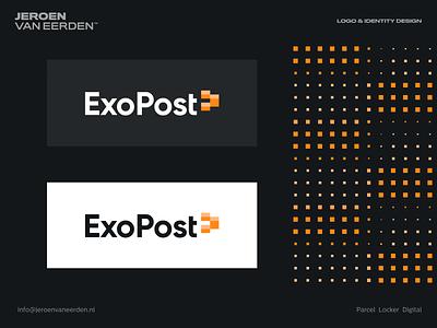 ExoPost - Logo Design v3 lettermark symbol monogram logomark visual identity design identity design branding logo safe save secure ship shape rectangle block container lock parcel post exopost