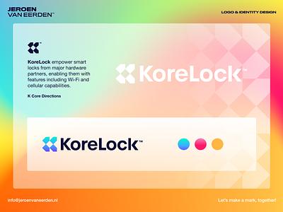 KoreLock - Logo Design (unused) symbol logo monogram monogram visual identity design brand identity design it tech movement forward access open locked korelock core lock direction tag branding design logo