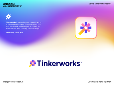 Tinkerworks - Unused Proposal visual identity design branding logo symbol monogram logo creation trick wand magic plus spark create think tinker