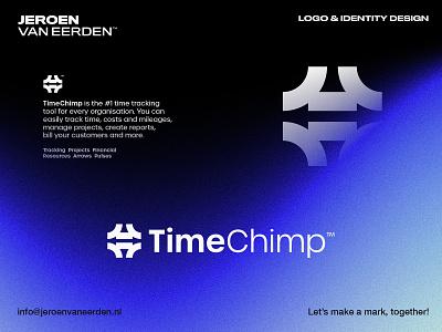 TimeChimp - Logo Design brand identity design visual identity design logo branding crm schedule plan platform it finance resource tracking track direction arrow icon manage management watch time