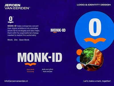 MONK-ID - Logo Concept / Part 2 communicate digital strategy orange bold urban transparency open book identity design wordmark lettermark monogram m branding logo avatar head zen monk