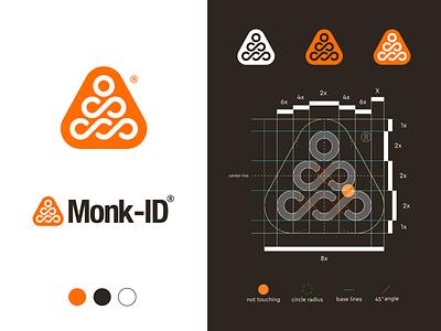 Monk-ID - Concept 3 🟠 pure balanced zen brand identity design visual identity design logo symbol bold infinity line urban service smart intelligent process goal triangle monk