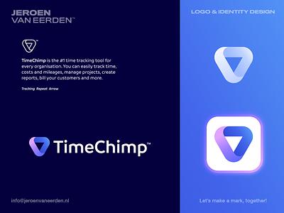 TimeChimp - Logo Design / Part 2 aim progress process repeat clock rotation upwards lead direction arrow tracking manage schedule digital planner timeline stamp time