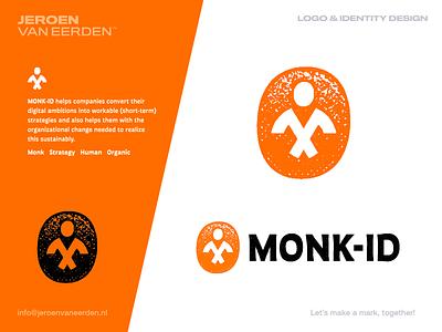 Monk-ID - Logo Concept 4 🟠 monogram m identity branding logo organic balanced calm work mind strategy axes smart monkey idea monk