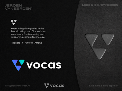 Vocas - Logo Redesign Proposal ▶️ lettermark creative logo mockup visual identity brand identity design branding logo monogram v gear triangle film video vocas