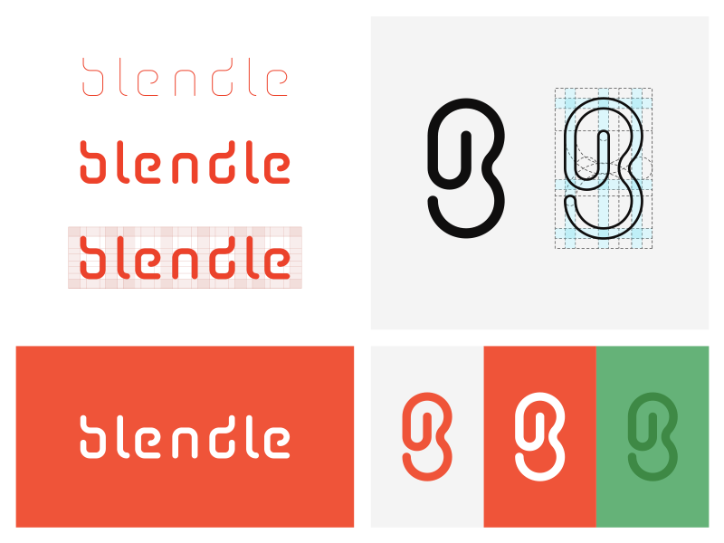 Blendle Branding Concept. blendle logo typo custom link clip paper news grid monogram lettering branding