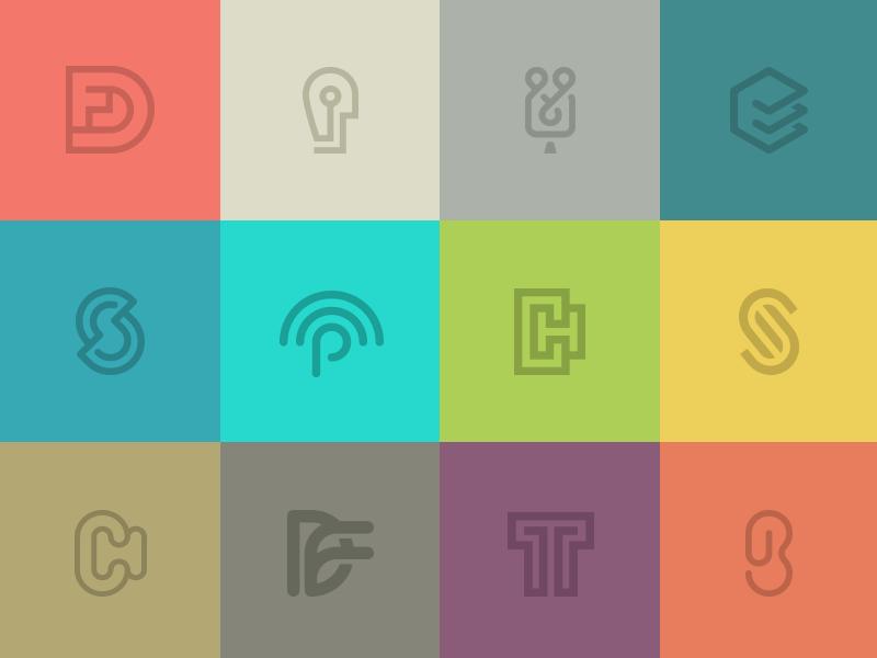 Monograms and Symbols.  portfolio monogram symbol icon mark branding logo identity line pen