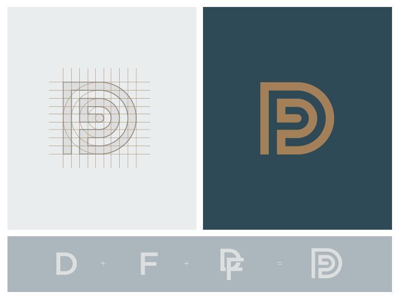 DF - identity construction  d f monogram logo identity mark industrial organic construction grid