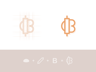 B for Bakery - 3rd Concept Proposal  dough bakery b bake grain corn bread monogram letter french france