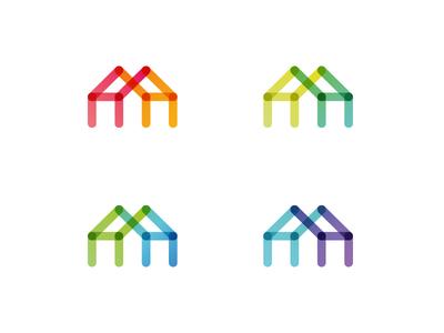 HH Monogram - HouseHolding Services h hh monogram house holding household householding services identity gradient lettering