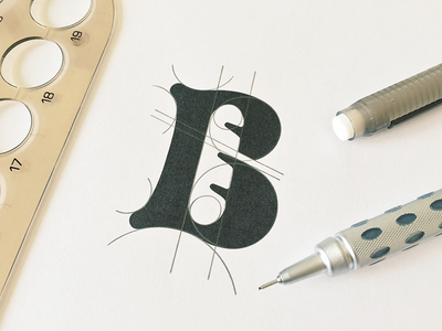 B for Bakery, perfecting the curves.  b bake bread bakery sketch minimal baguette craft craftwork negative space typeface calligraphy