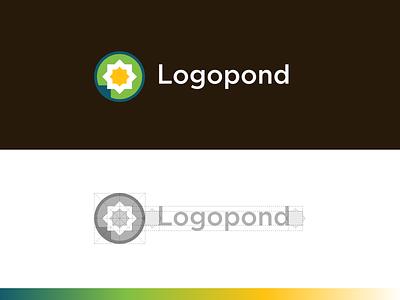 Logopond identity construction grid brand branding water lily pond logopond logo identity