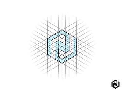 N Monogram abstract symmetrical symmetry logo branding grid hexa hexagram construction monogram n