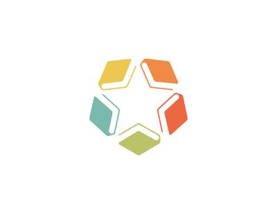 Bookstar logo mark symbol campus identity school balance symmetrical star books book